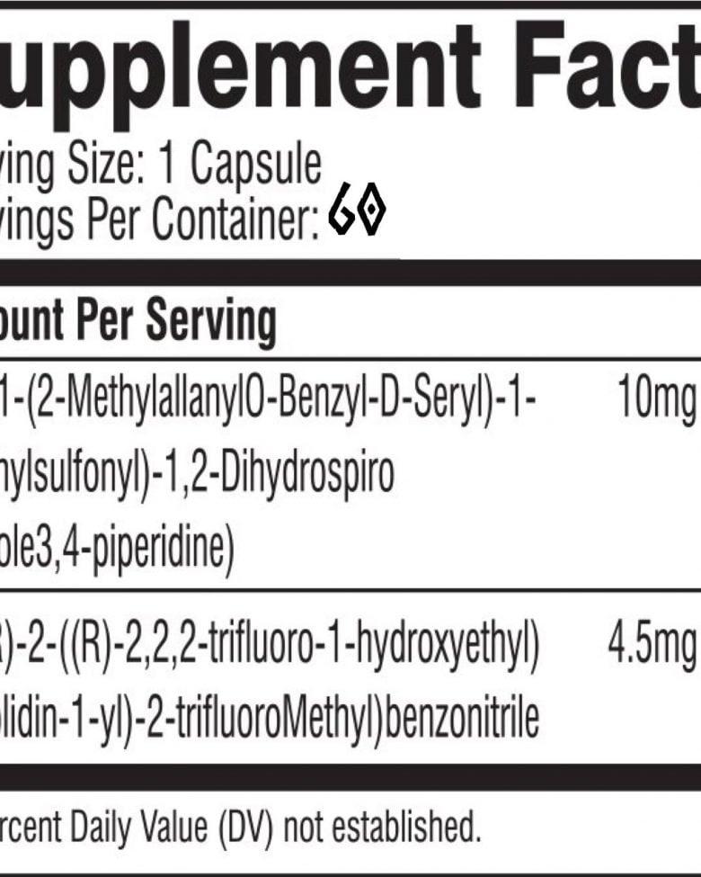 2 x Bottles of MK677 Ibutamoren 60 x 10mg Capsules
